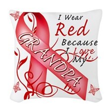 I Wear Red Because I Love My G Woven Throw Pillow
