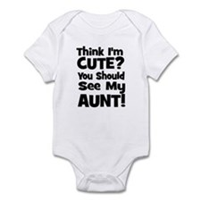 Think I'm Cute? Aunt - Black Onesie