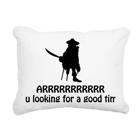piratepickuplinesblack Rectangular Canvas Pillow