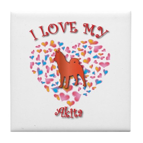 Love Akita Tile Coaster