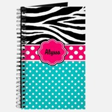 Pink Blue Zebra Personalized Journal