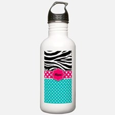 Pink Blue Zebra Personalized Water Bottle