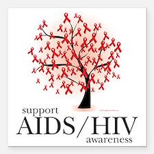 """AIDSHIV-Tree Square Car Magnet 3"""" x 3"""""""