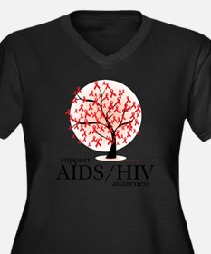 AIDSHIV-Tree Women's Plus Size Dark V-Neck T-Shirt