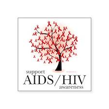 "AIDSHIV-Tree Square Sticker 3"" x 3"""