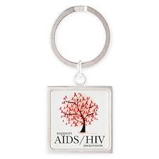AIDSHIV-Tree Square Keychain