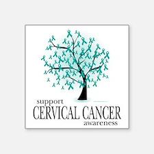 "Cervical-Cancer-Tree Square Sticker 3"" x 3"""
