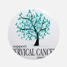 Cervical-Cancer-Tree Round Ornament