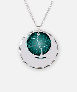 Cervical-Cancer-Tree-blk Necklace Circle Charm