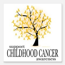 "Childhood-Cancer-Tree Square Car Magnet 3"" x 3"""
