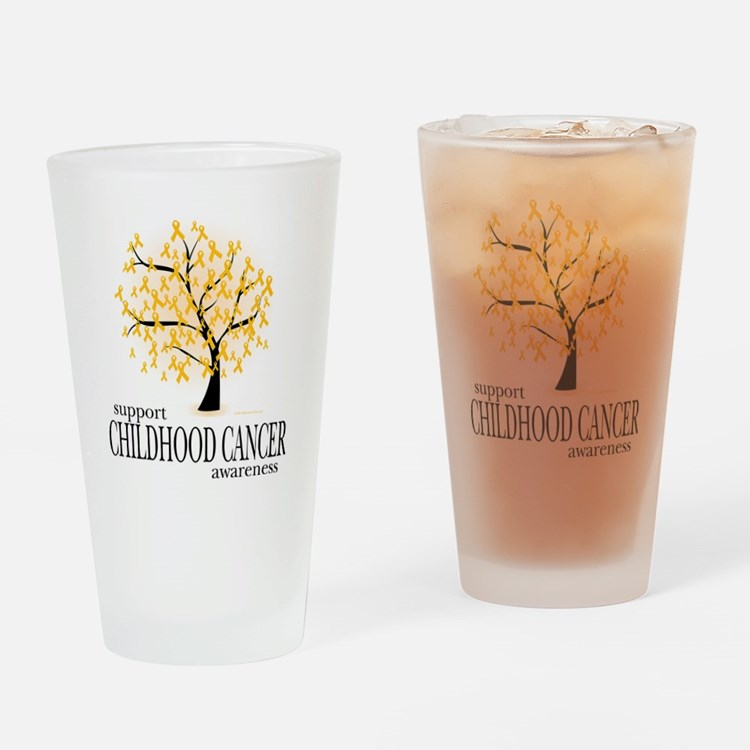 Childhood-Cancer-Tree Drinking Glass