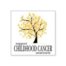 "Childhood-Cancer-Tree Square Sticker 3"" x 3"""