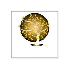 "Childhood-Cancer-Tree-blk Square Sticker 3"" x 3"""