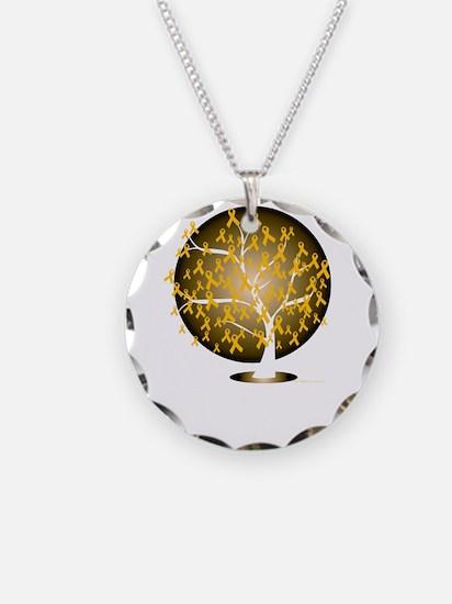 Childhood-Cancer-Tree-blk Necklace