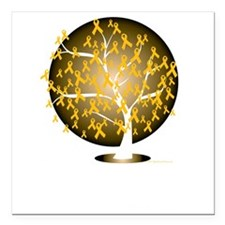 "Childhood-Cancer-Tree-bl Square Car Magnet 3"" x 3"""