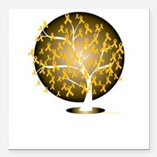 "Childhood-Cancer-Tree-bl Square Car Magnet 3"" x 3"""