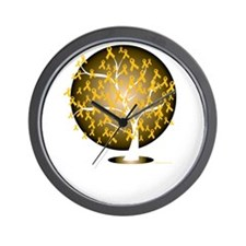 Childhood-Cancer-Tree-blk Wall Clock