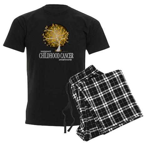 Childhood-Cancer-Tree-blk Men's Dark Pajamas