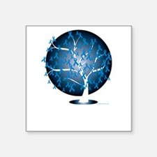 """Colon-Cancer-Tree-blk Square Sticker 3"""" x 3"""""""