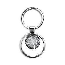 Diabetes-Tree-blk Round Keychain