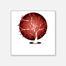 "Heart-Disease-Tree-blk Square Sticker 3"" x 3"""