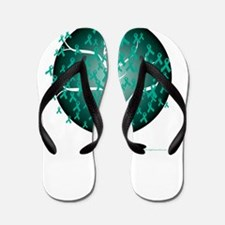 Ovarian-Cancer-Tree-blk Flip Flops