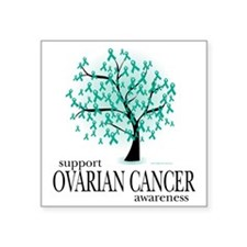 "Ovarian-Cancer-Tree Square Sticker 3"" x 3"""