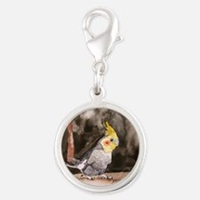 cockatiel-large Silver Round Charm
