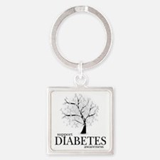 Diabetes-Tree Square Keychain