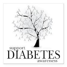 "Diabetes-Tree Square Car Magnet 3"" x 3"""