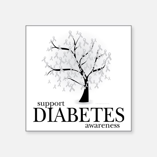 "Diabetes-Tree Square Sticker 3"" x 3"""