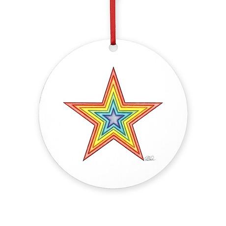 Rainbow Star Ornament (Round)