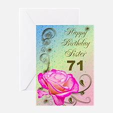 71st birthday card for sister, Elegant rose Greeti