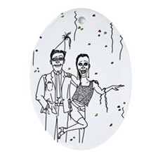 Party Couple Oval Ornament