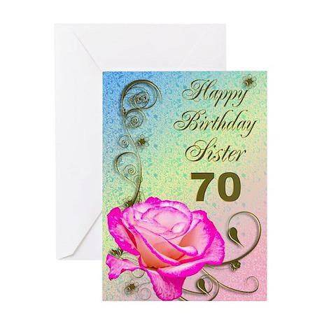 70th birthday card for sister, Elegant rose Greeti