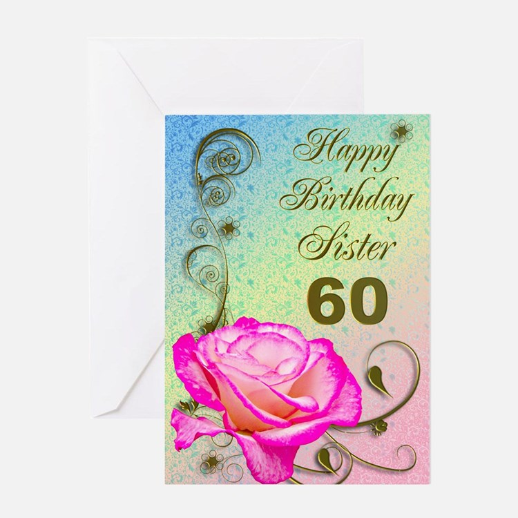 60th birthday card for sister, Elegant rose Greeti