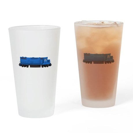 Blue Train Engine Drinking Glass