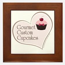 gourmet custom cupcakes apron logo des Framed Tile