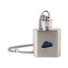 Blue Train Engine Flask Necklace