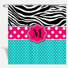 Pink Blue Zebra Monogram Shower Curtain
