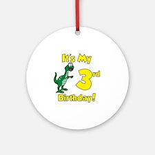 3rd Birthday Dinosaur Shirt Round Ornament
