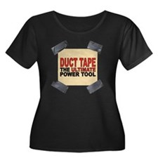 duct tap Women's Plus Size Dark Scoop Neck T-Shirt