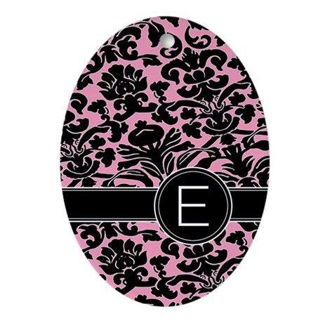 443_monogram_pink_E Oval Ornament