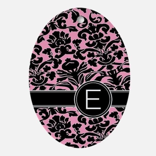 443_monogram_pink_E Oval Ornament