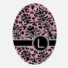 443_monogram_pink_L Oval Ornament