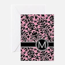 443_monogram_pink_M Greeting Card