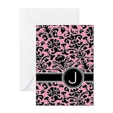 443_monogram_pink_J Greeting Card