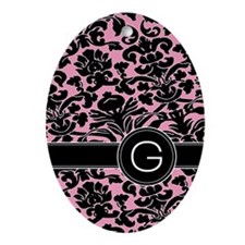 443_monogram_pink_G Oval Ornament