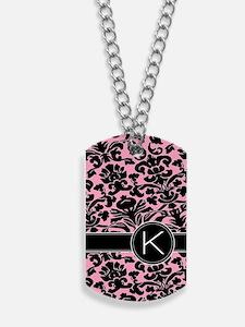 443_monogram_pink_K Dog Tags