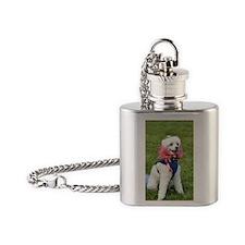 patriotic poodle Flask Necklace
